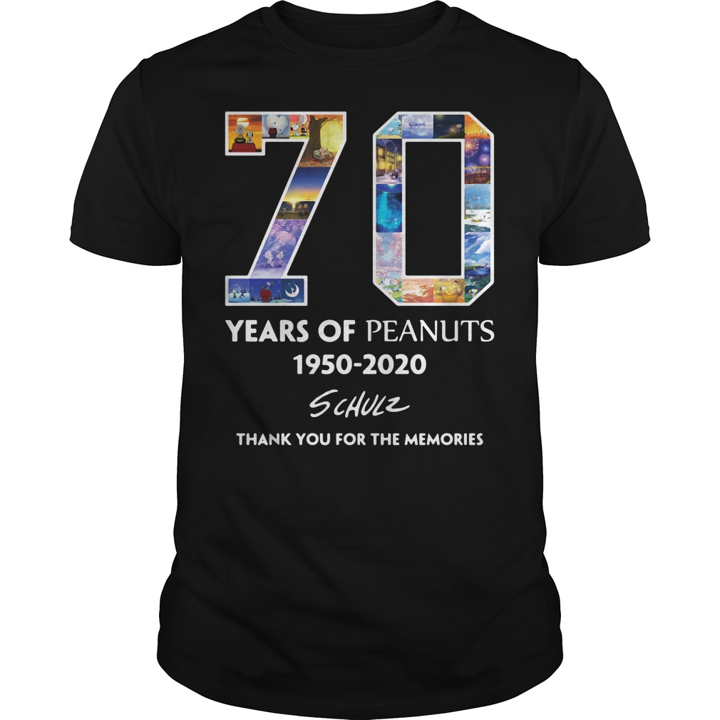 70 Years Of Peanuts 1950 2020 Schulz Thank You For The Memories Shirt