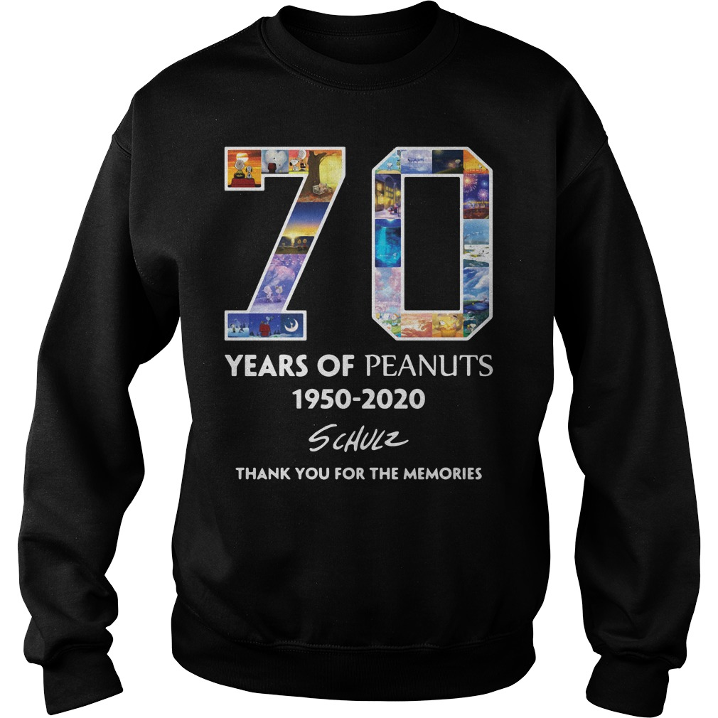 70 Years Of Peanuts 1950 2020 Schulz Thank You For The Memories Sweater