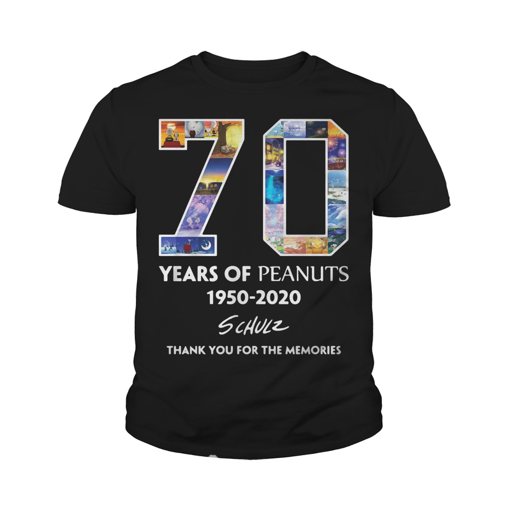 70 Years Of Peanuts 1950 2020 Schulz Thank You For The Memories Youth Shirt