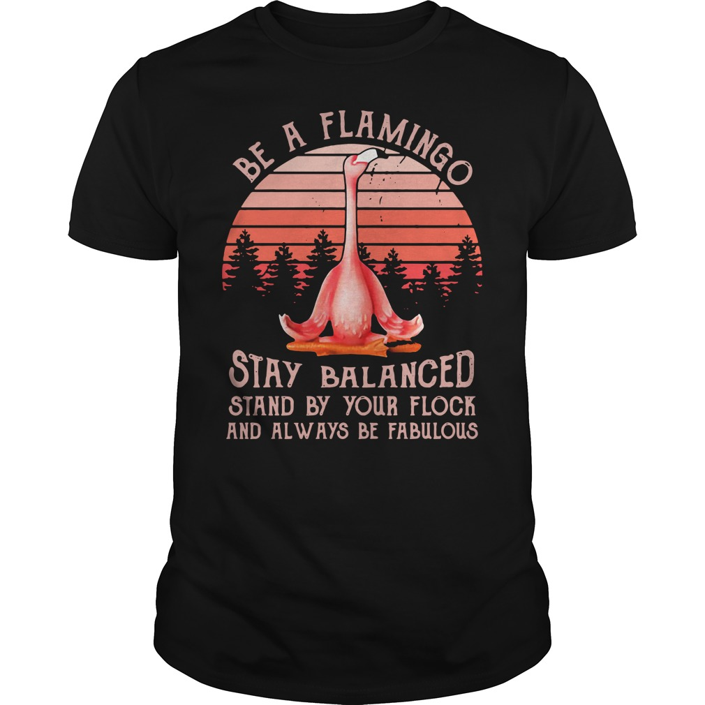 Flamingo Yoga Stay Balanced Stand By Your Flock Always Be Fabulous Shirt