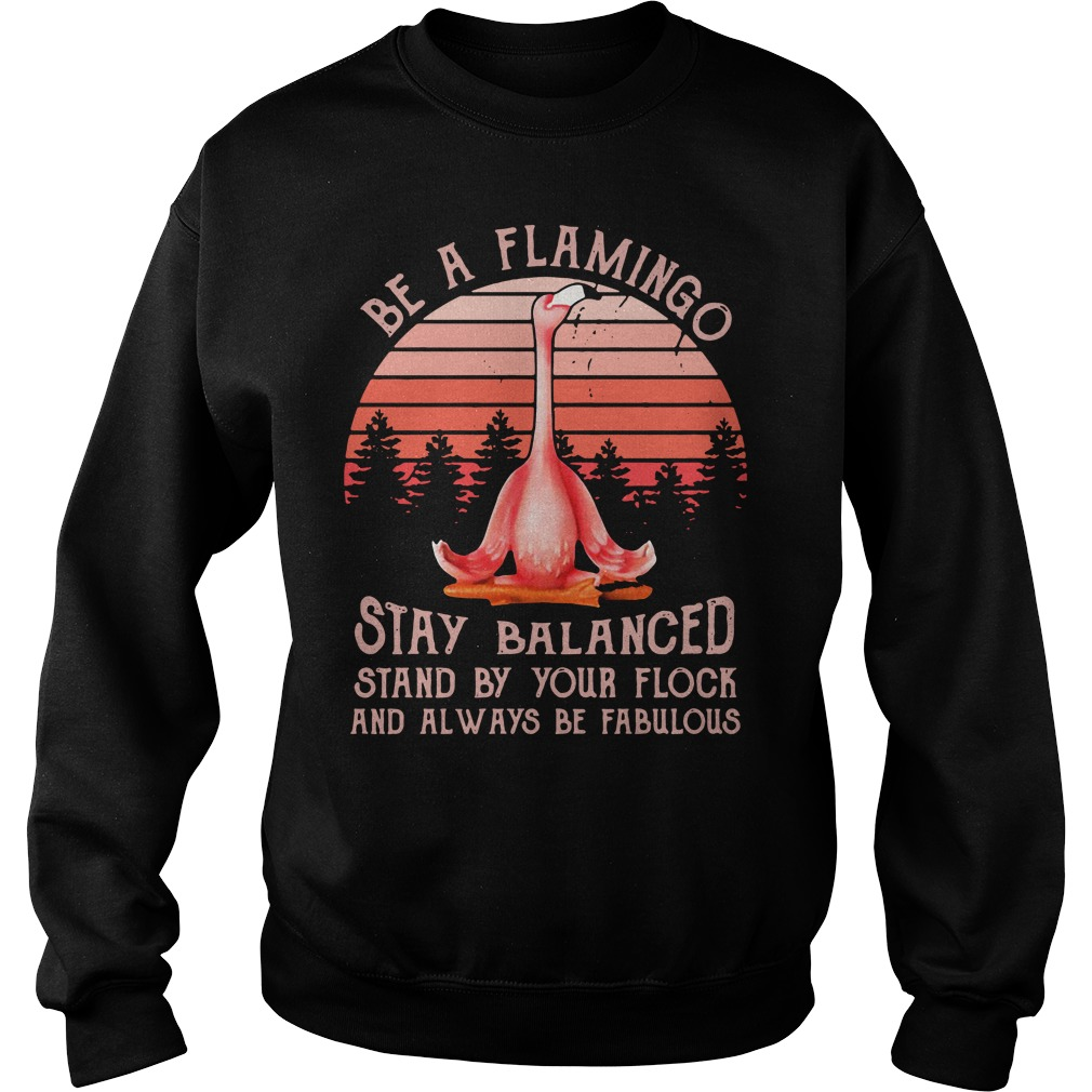 Flamingo Yoga Stay Balanced Stand By Your Flock Always Be Fabulous Sweater