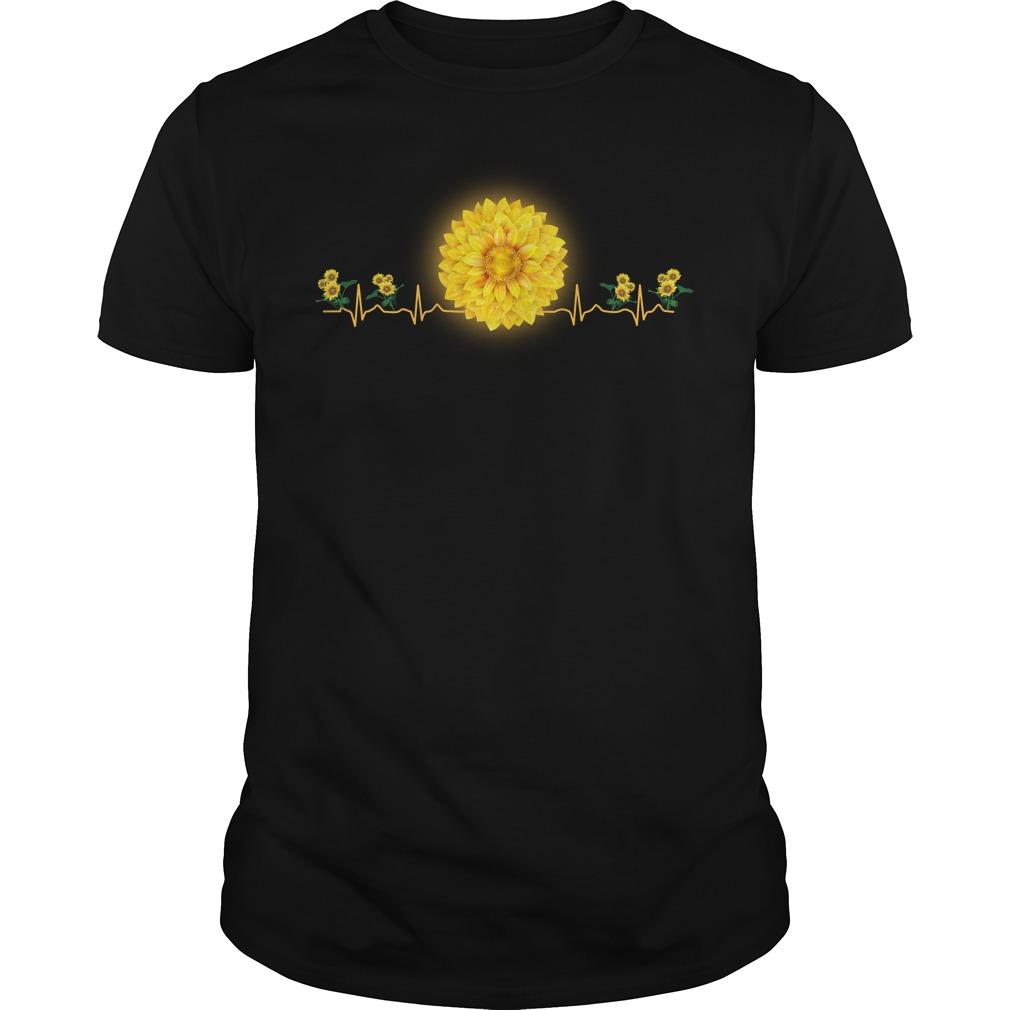 Nurse Sunflower Heartbeat Shirt