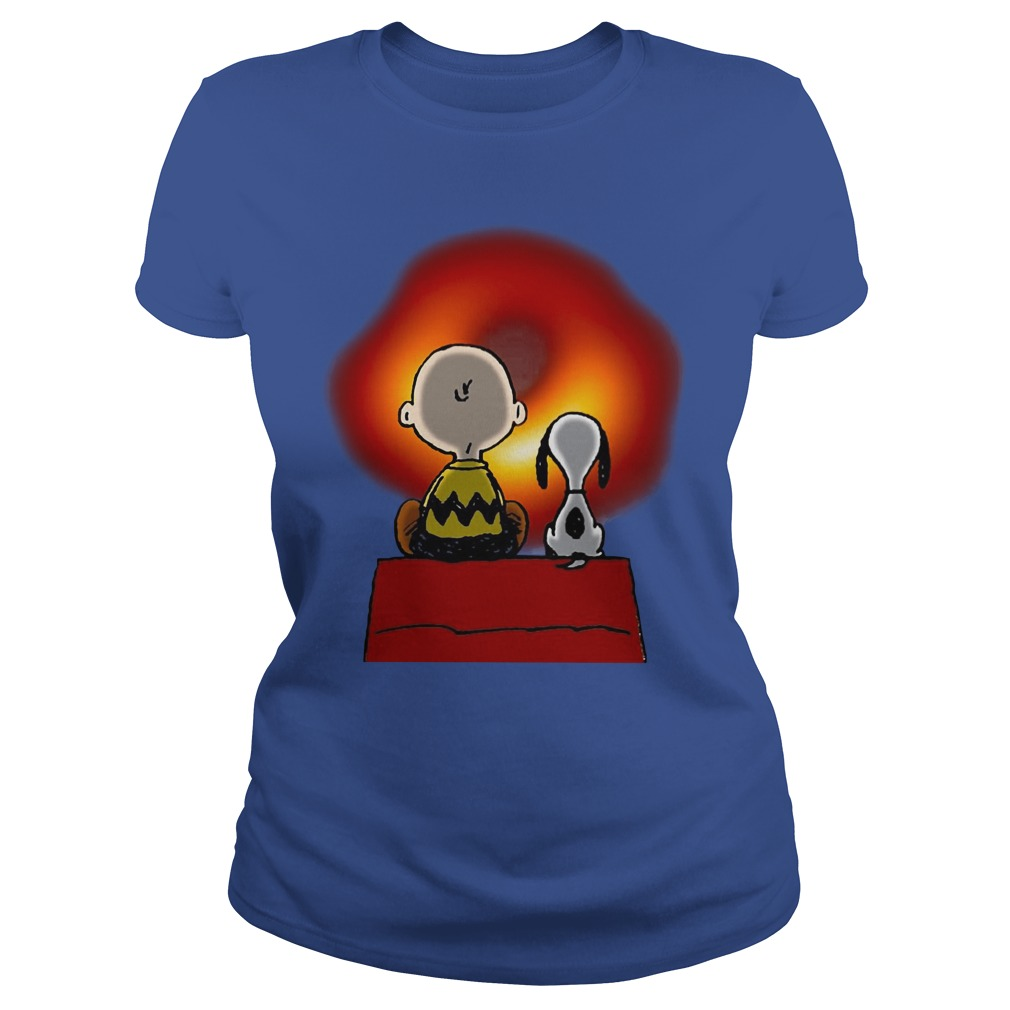 Snoopy And Charlie Brown Cosmic Black Hole Ladies Shirt
