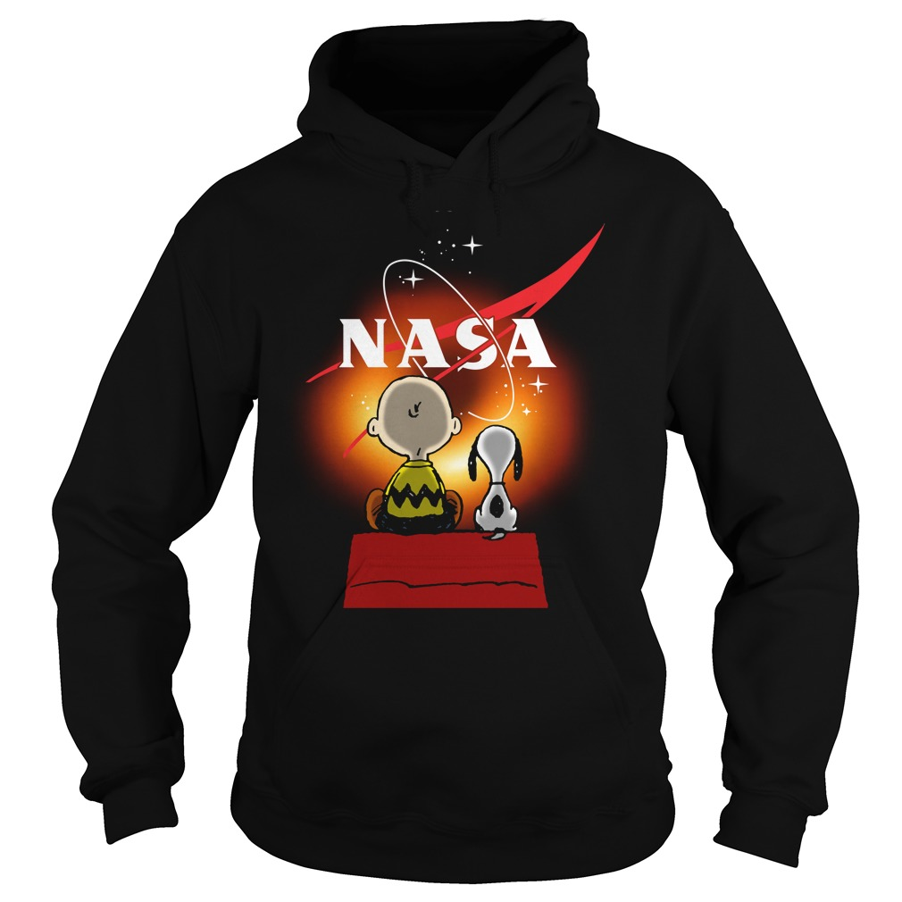 Snoopy And Charlie Brown Looking Black Hole Nasa Hoodie
