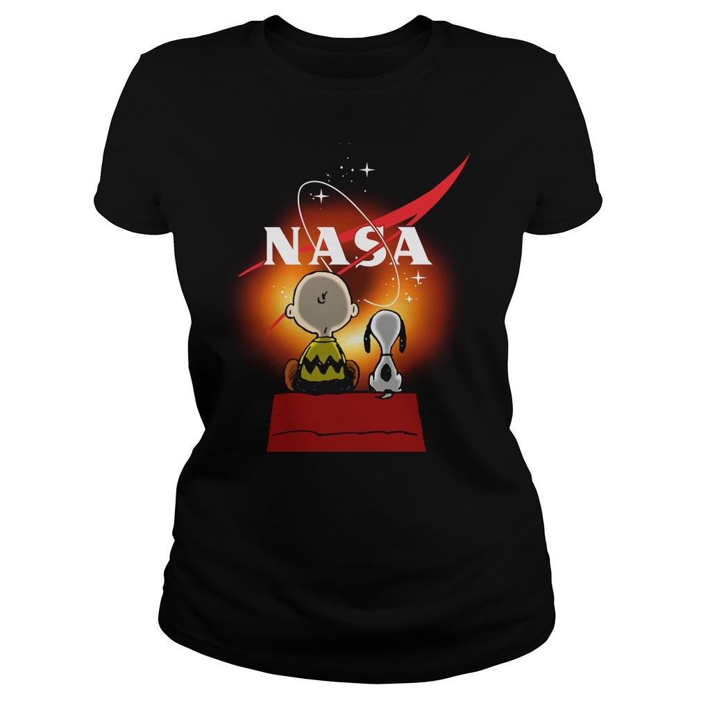 Snoopy And Charlie Brown Looking Black Hole Nasa Ladies Shirt