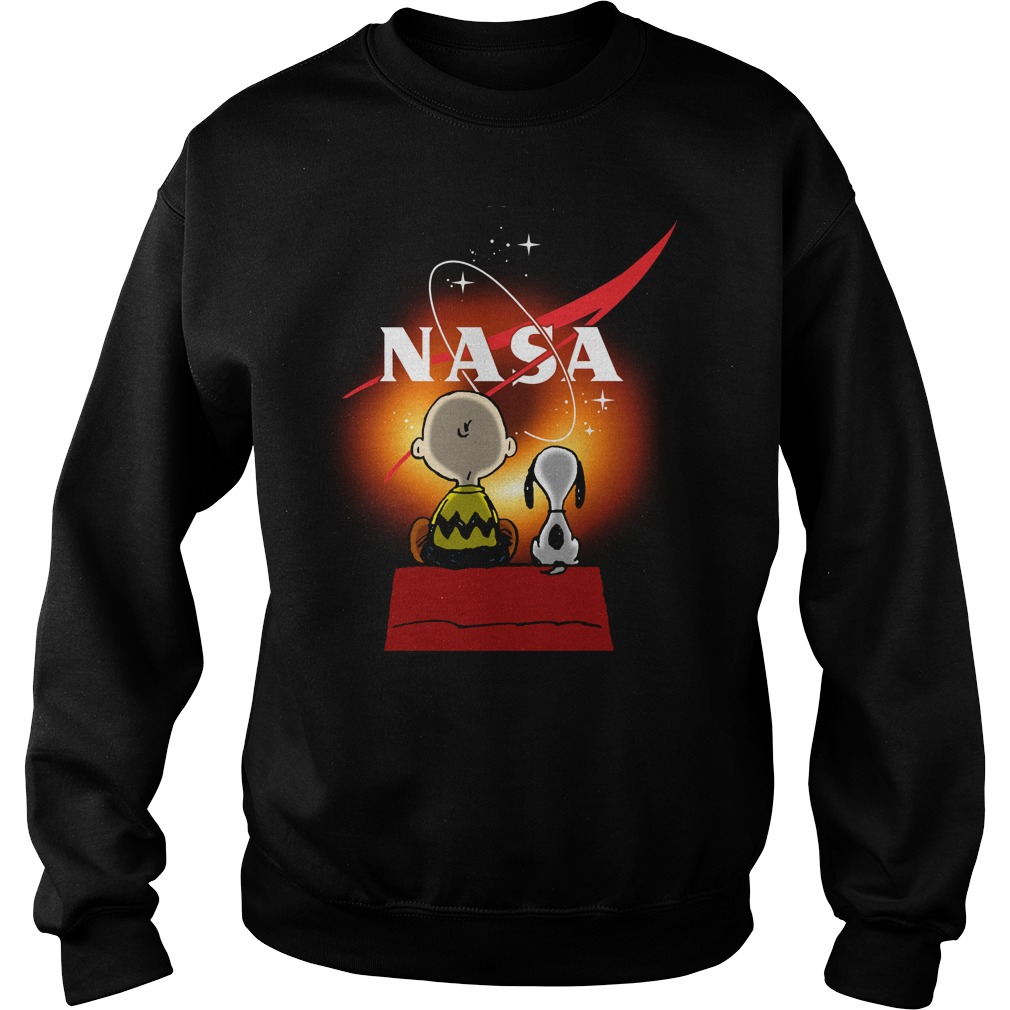 Snoopy And Charlie Brown Looking Black Hole Nasa Sweatshirt