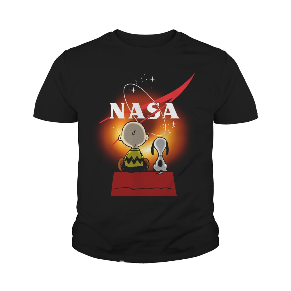 Snoopy And Charlie Brown Looking Black Hole Nasa Youth Shirt