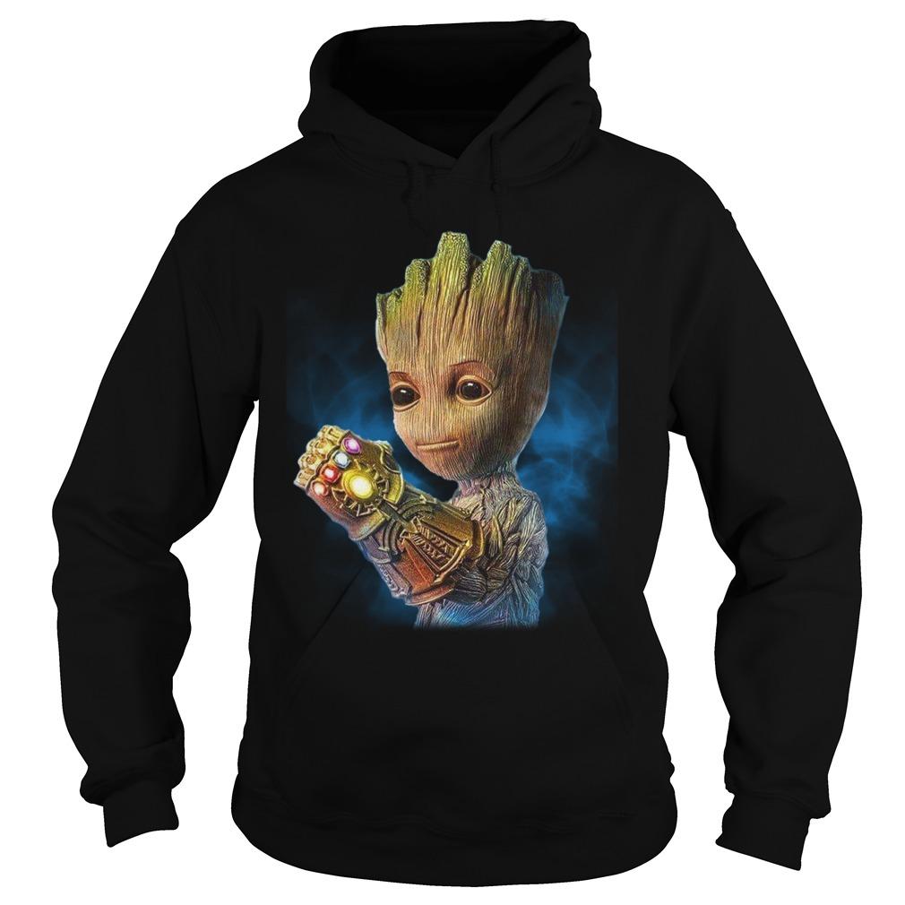 Baby Groot Wearing Infinity Gauntlet Shirt hoodie