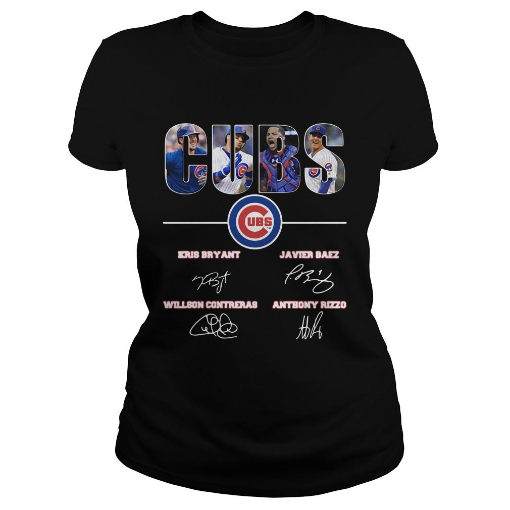 Chicago Cubs Kris Bryant Javier Baez Willson Contreras Anthony Rizzo signature shirt ladies tee
