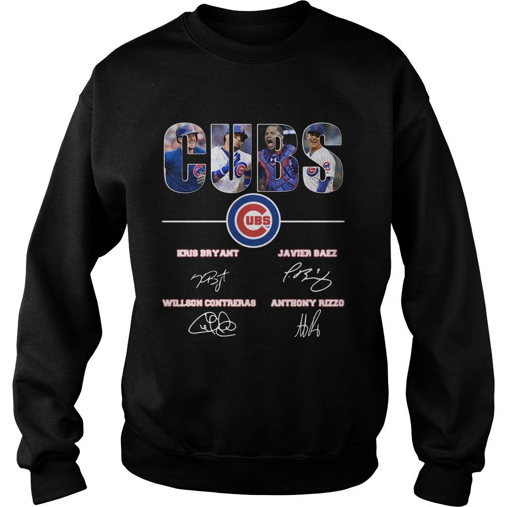 Chicago Cubs Kris Bryant Javier Baez Willson Contreras Anthony Rizzo signature shirt sweater