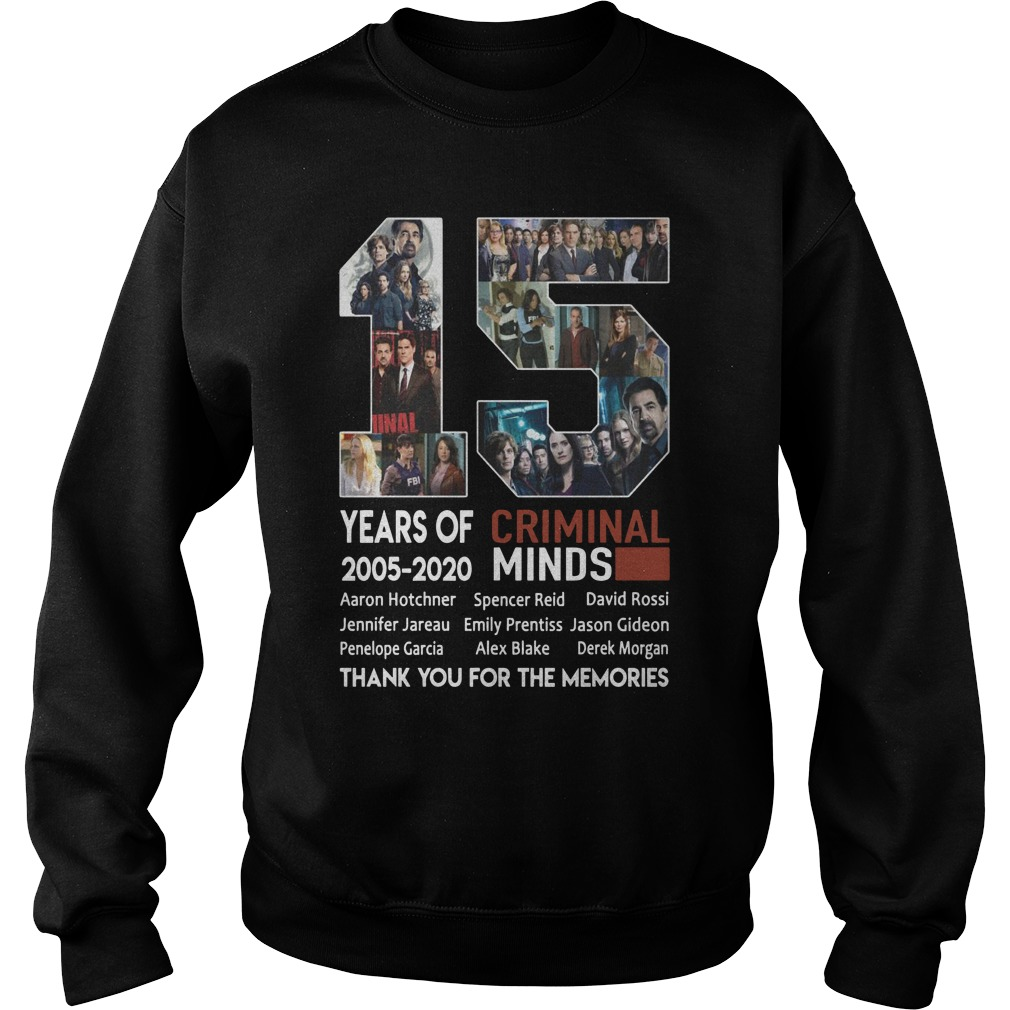 15 Years Of Criminal Minds 2005 2020 Thank You For The Memories Sweater
