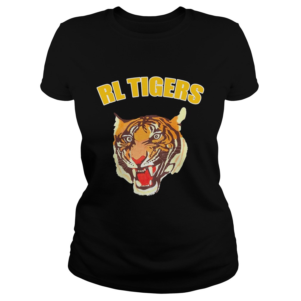 Rl Tigers Vintage Polo Ralph Lauren Tiger Leather Arms Varsity Jacket Shirt ladies tee