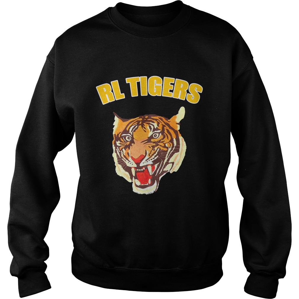 Rl Tigers Vintage Polo Ralph Lauren Tiger Leather Arms Varsity Jacket Shirt sweater
