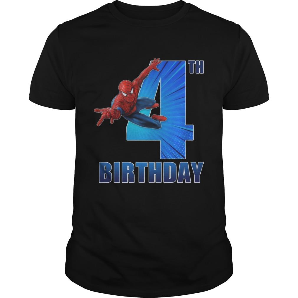 Spiderman Swinging 4th Funny Birthday Shirt