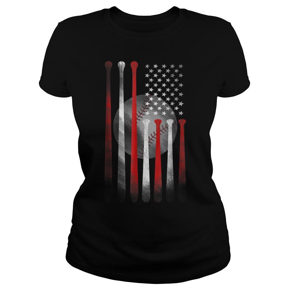 American Flag Vintage Baseball Flag Father Ladies Shirt