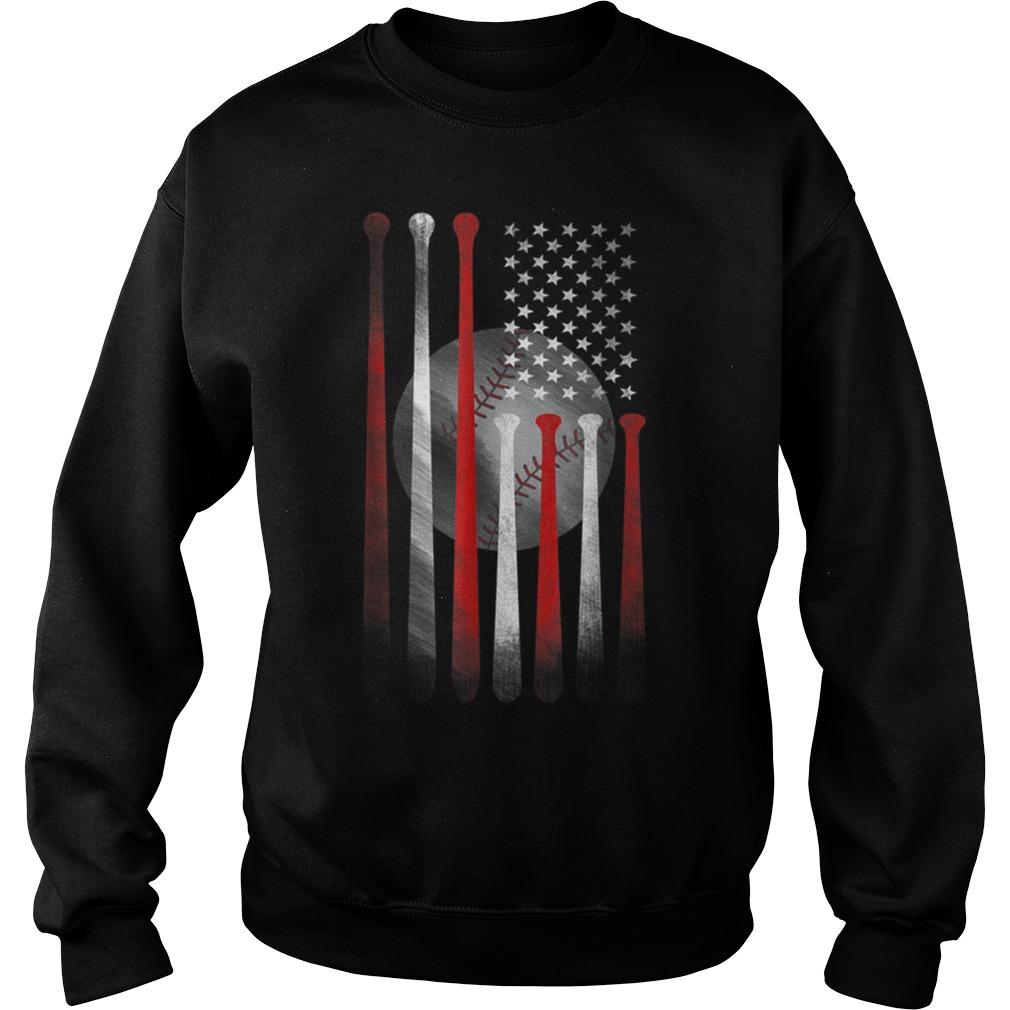 American Flag Vintage Baseball Flag Father Sweater
