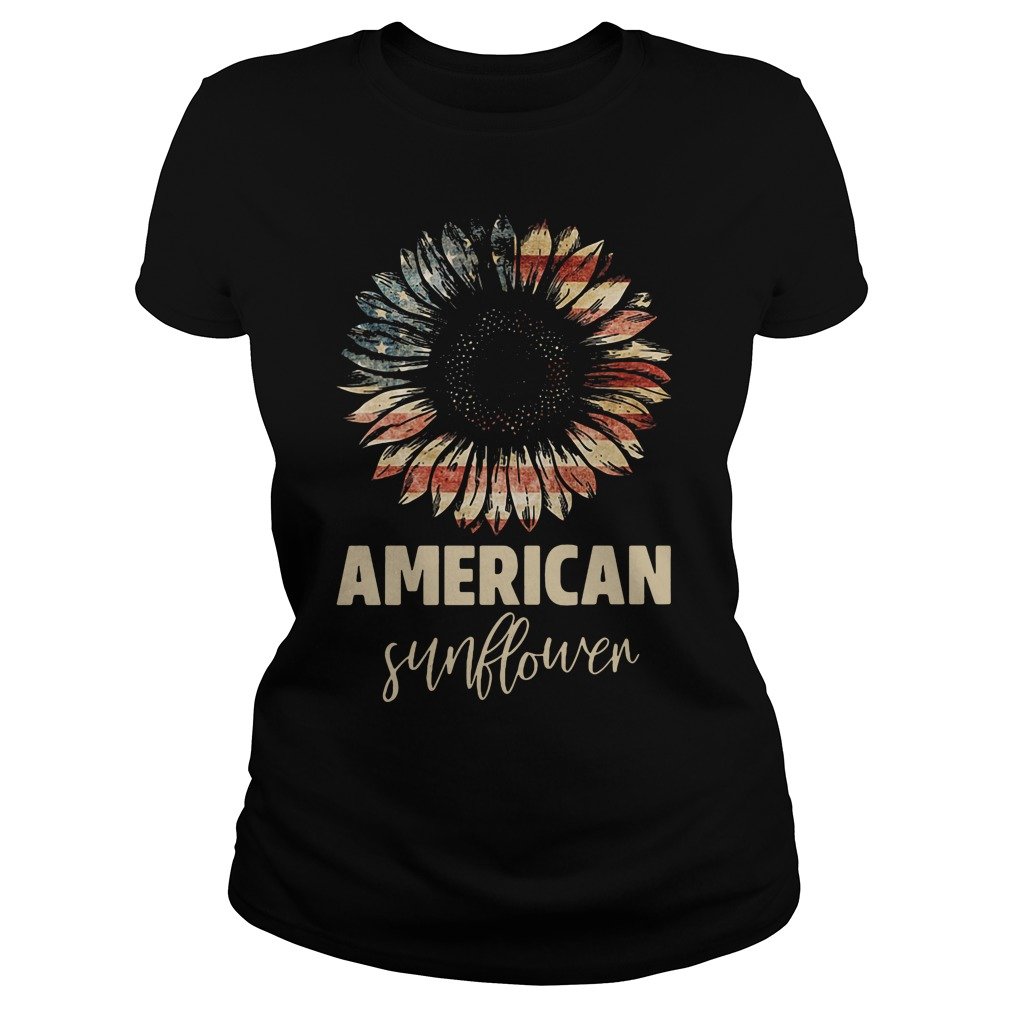 Official American Flag Sunflower Ladies Shirt