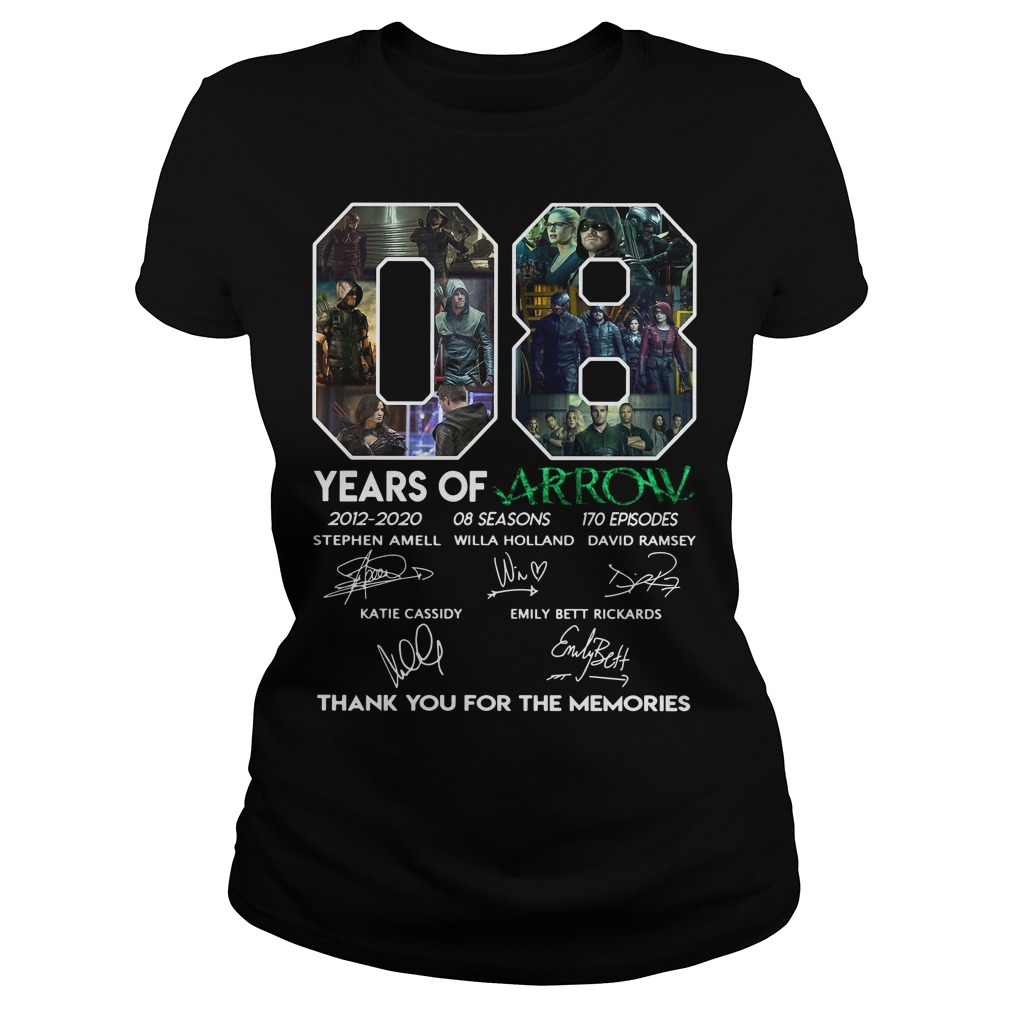 08 Years Of Arrow Thank You For The Memories Signature Shirt ladies tee
