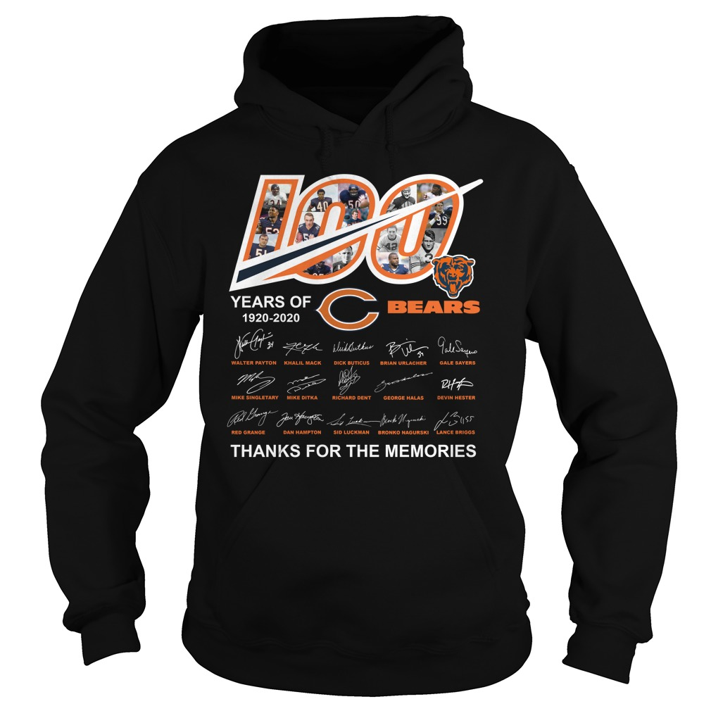 100 Years Of Chicago Bears 1920 2020 Thanks For The Memories Shirt hoodie