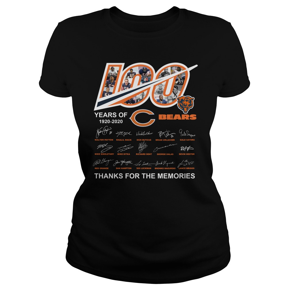 100 Years Of Chicago Bears 1920 2020 Thanks For The Memories Shirt ladies tee