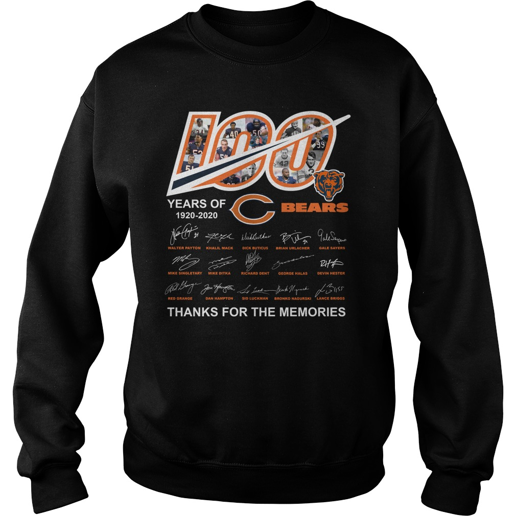 100 Years Of Chicago Bears 1920 2020 Thanks For The Memories Shirt sweater