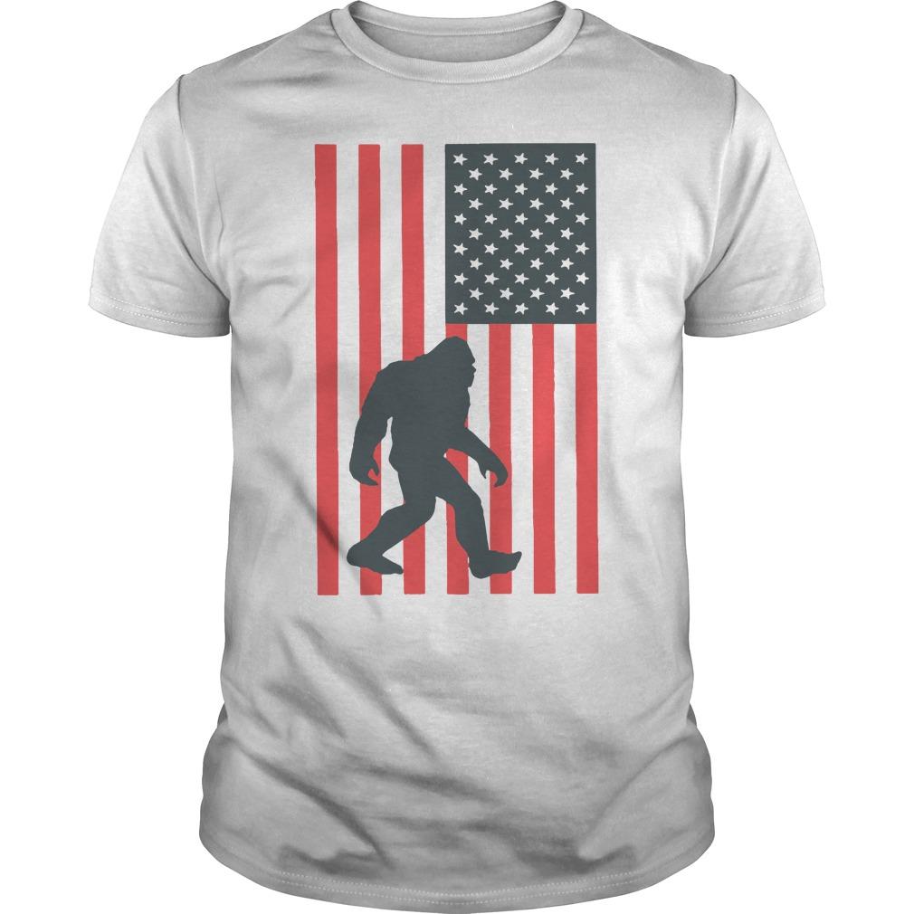 Bigfoot 4th Of July Patriotic Usa Flag Shirt