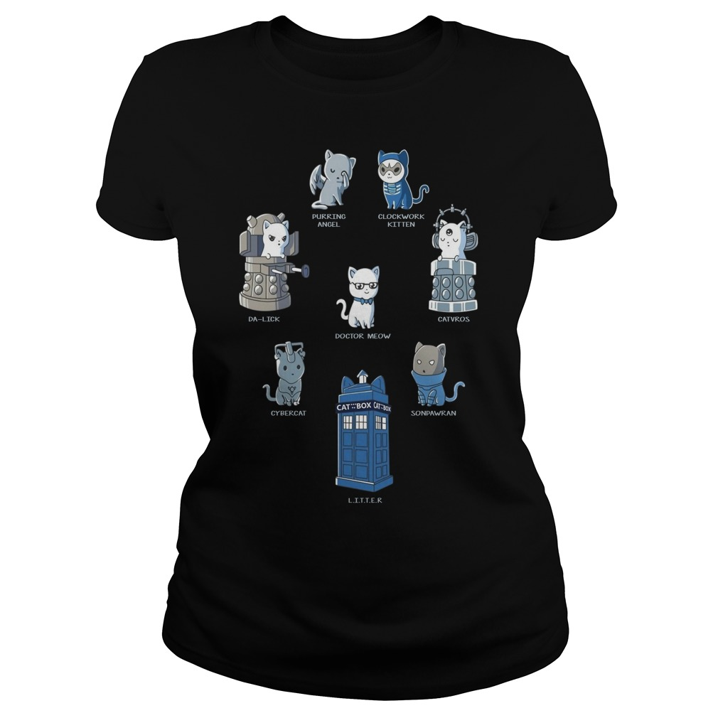 Doctor Who Cats Play Roles Shirt ladies tee