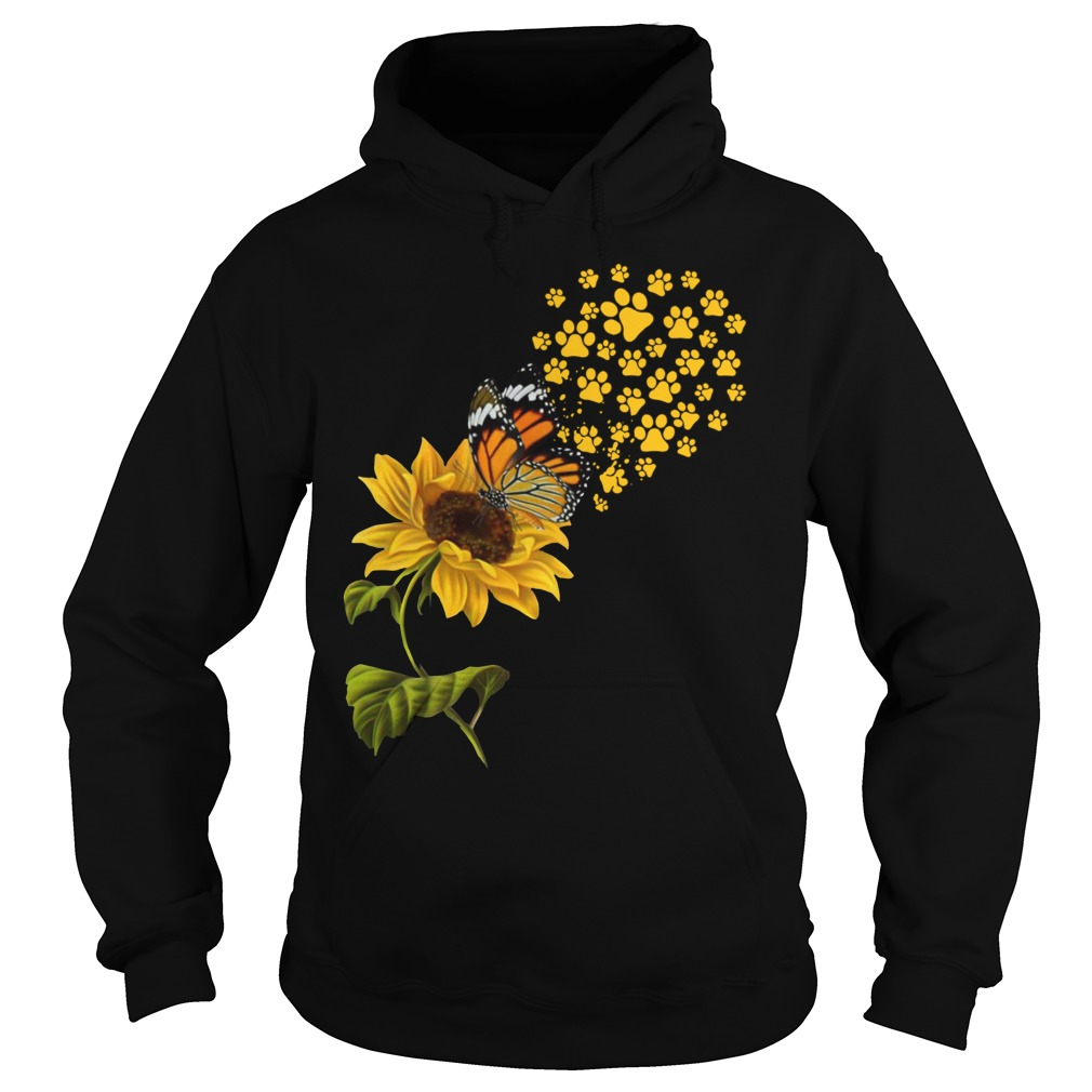 Dog Paw Sunflower And Butterfly Shirt hoodie