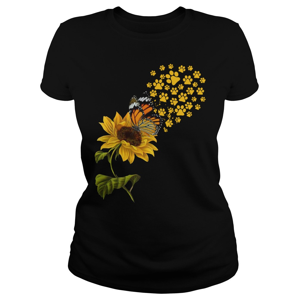 Dog Paw Sunflower And Butterfly Shirt ladies tee