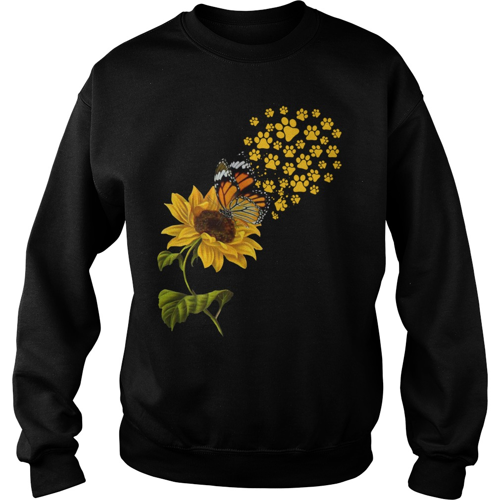 Dog Paw Sunflower And Butterfly Shirt sweater
