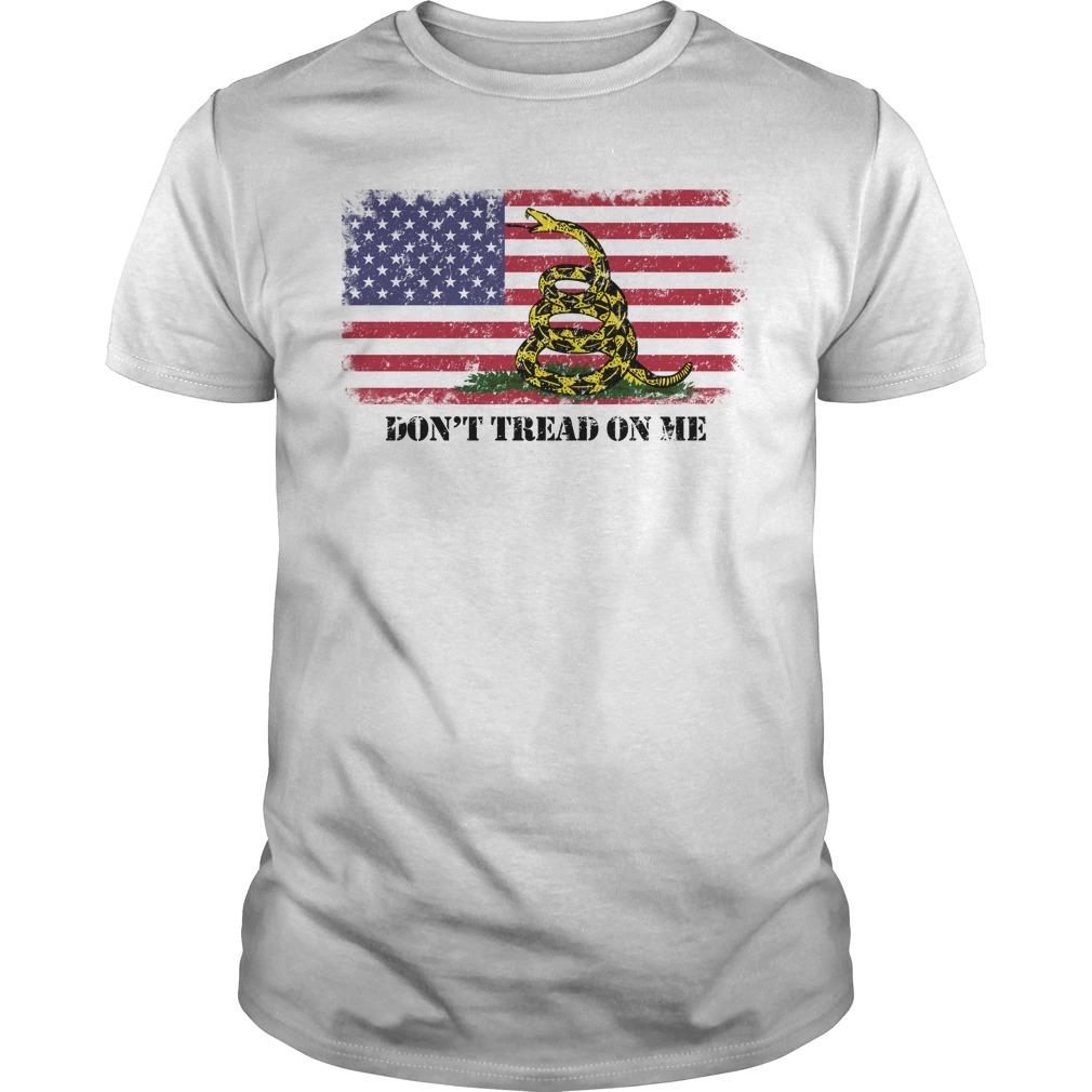 Don't Tread On Me American Gadsden Flag White Shirt