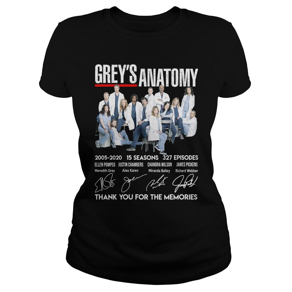 Grey Anatomy 15 Year Thank For The Memories Shirt ladies tee