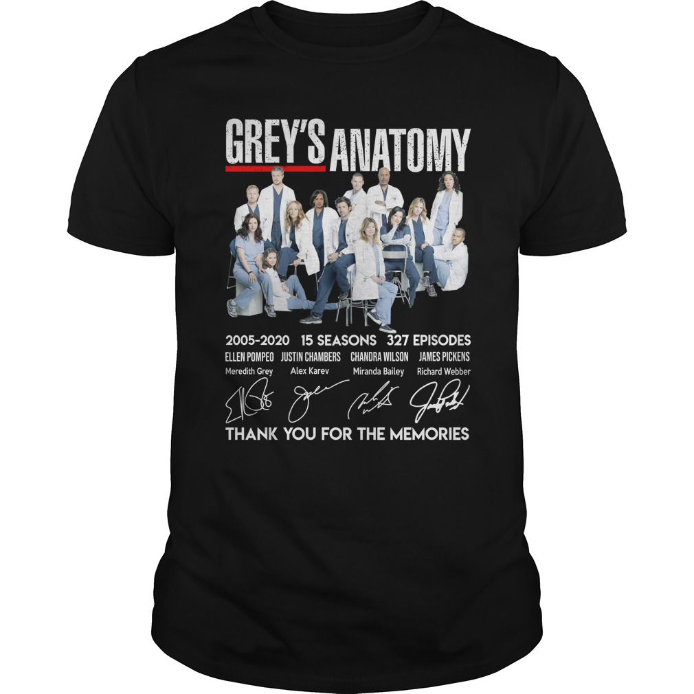 Grey Anatomy 15 Year Thank For The Memories Shirt