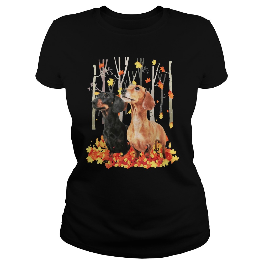 Dachshund Autumn Forest Shirt ladies tee