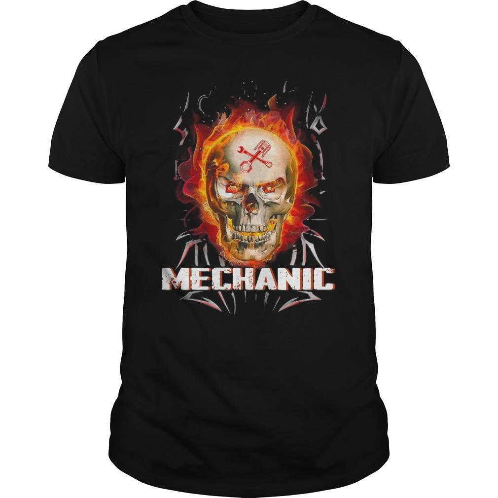 Mechanic Skull Magic Flame Shirt