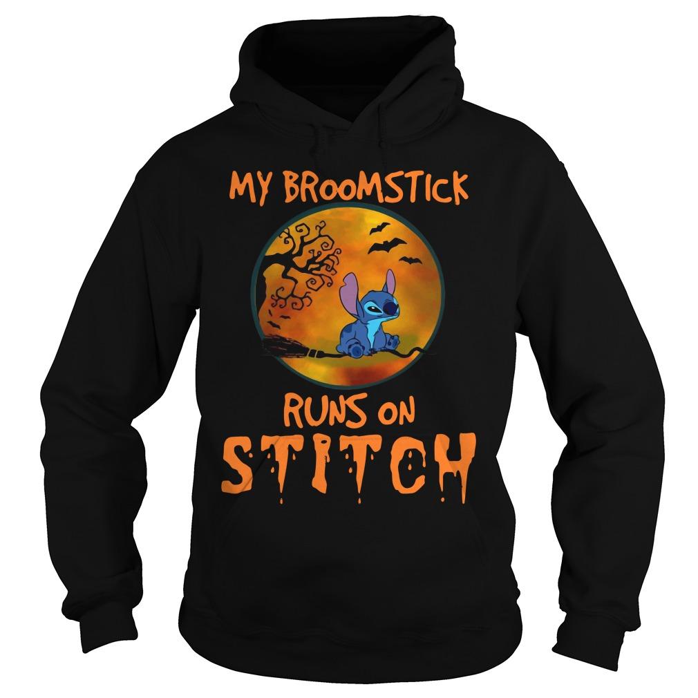My Broomstick Runs On Stitch Halloween Shirt hoodie