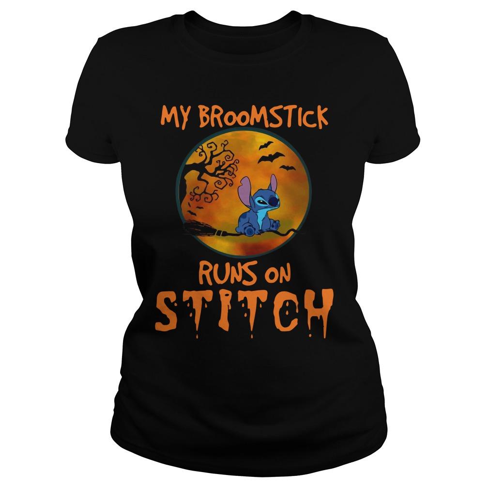 My Broomstick Runs On Stitch Halloween Shirt ladies tee