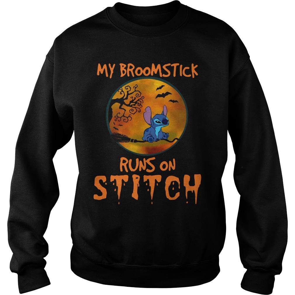 My Broomstick Runs On Stitch Halloween Shirt sweater