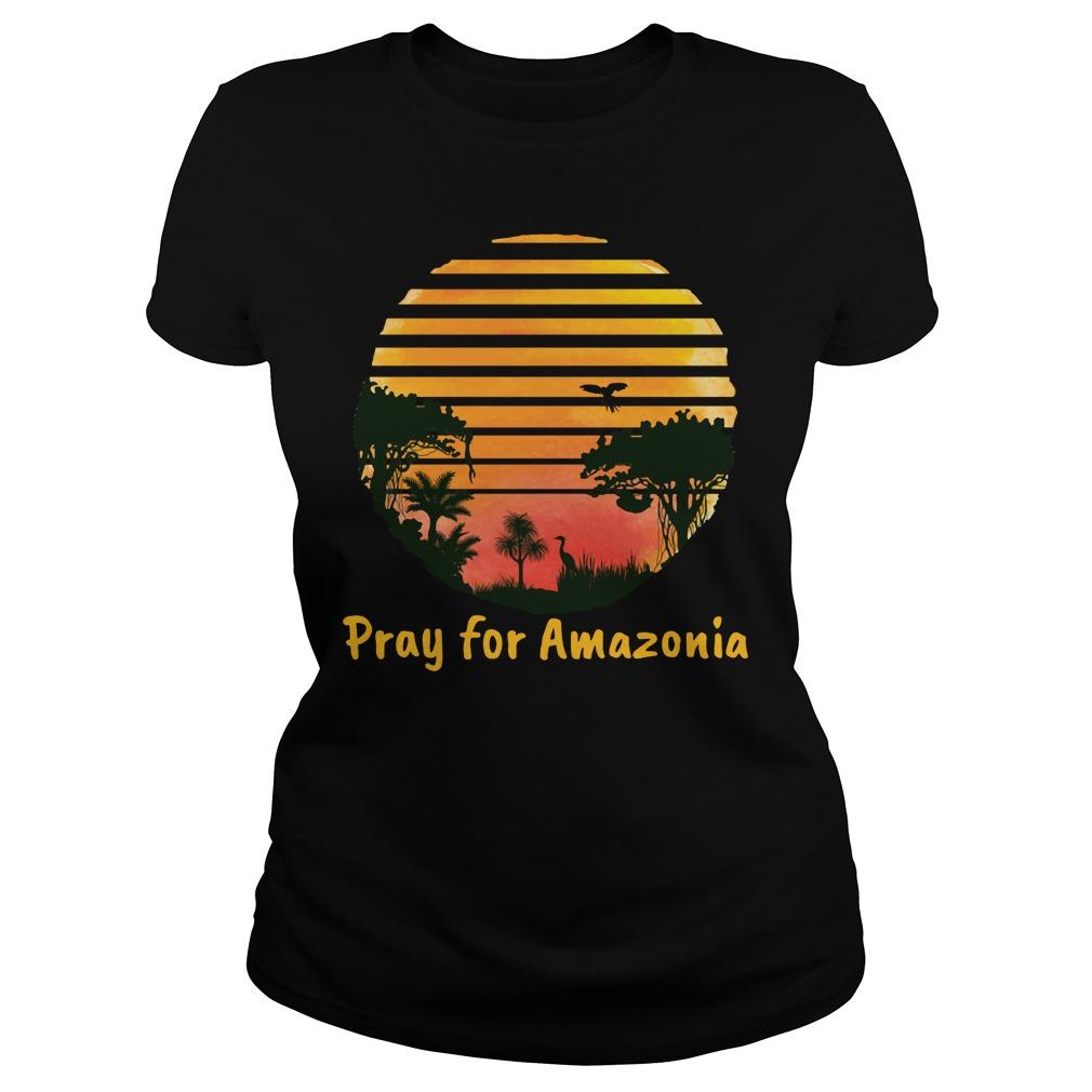 Pray For Amazonia Black Shirt ladies tee