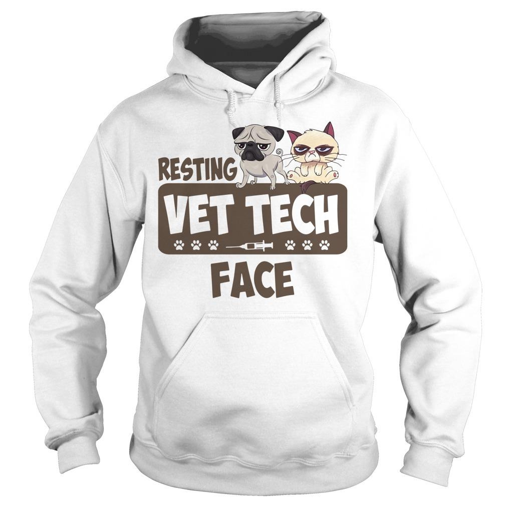 Resting Vet Tech Face White Shirt hoodie