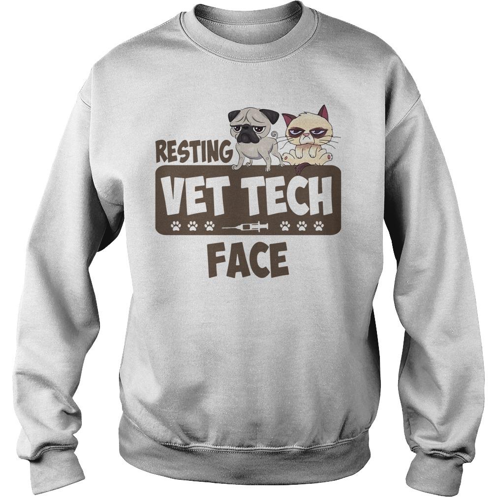 Resting Vet Tech Face White Shirt sweater