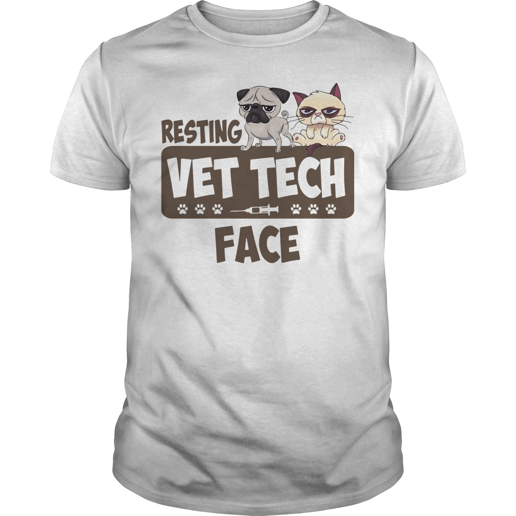 Resting Vet Tech Face White Shirt