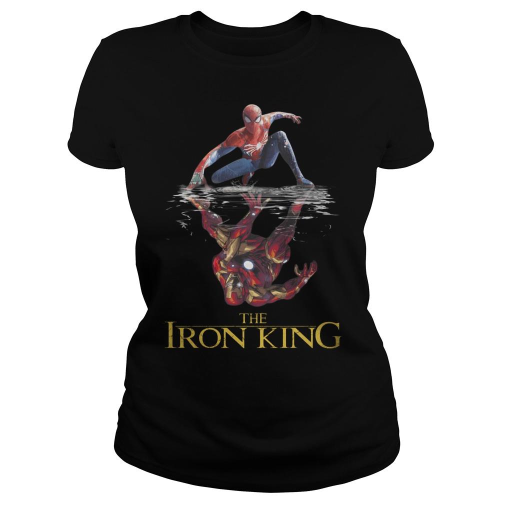 The Iron King Spider Man Reflection Iron Man Shirt ladies tee