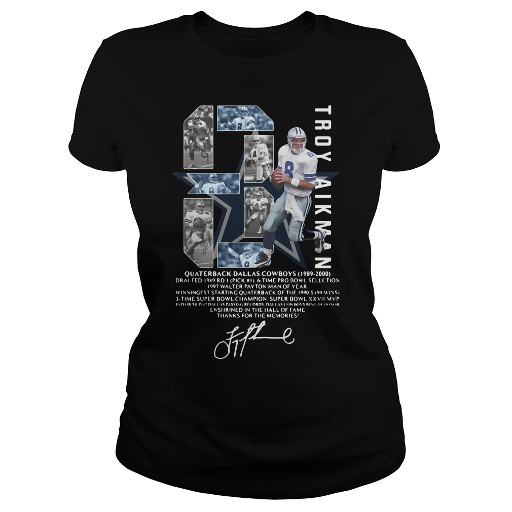 Troy Aikman Quarterback Dallas Cowboys Signature Shirt ladies tee