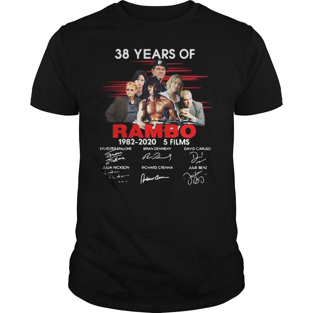 38 Years Of Rambo 1982 2020 5 Films Signature Guys Shirt