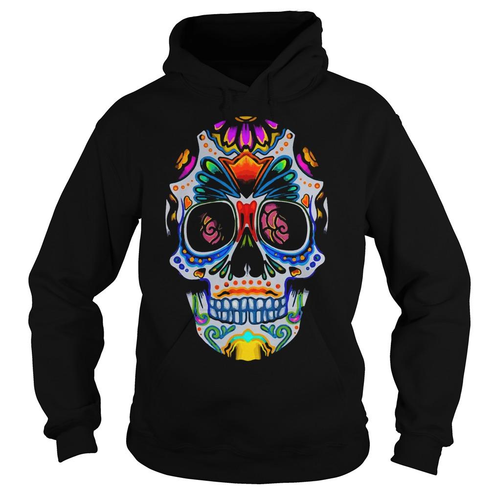 Bright Sugar Skull Halloween Shirt Day Of The Dead Shirt hoodie