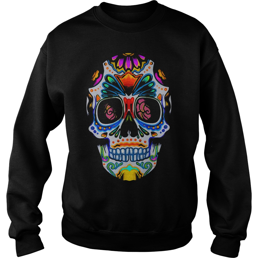 Bright Sugar Skull Halloween Shirt Day Of The Dead Shirt sweater