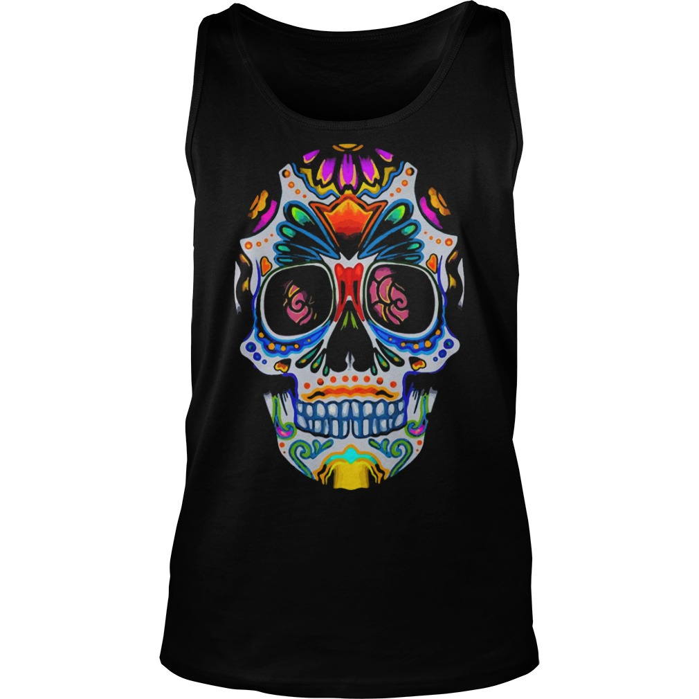 Bright Sugar Skull Halloween Shirt Day Of The Dead Shirt tank top