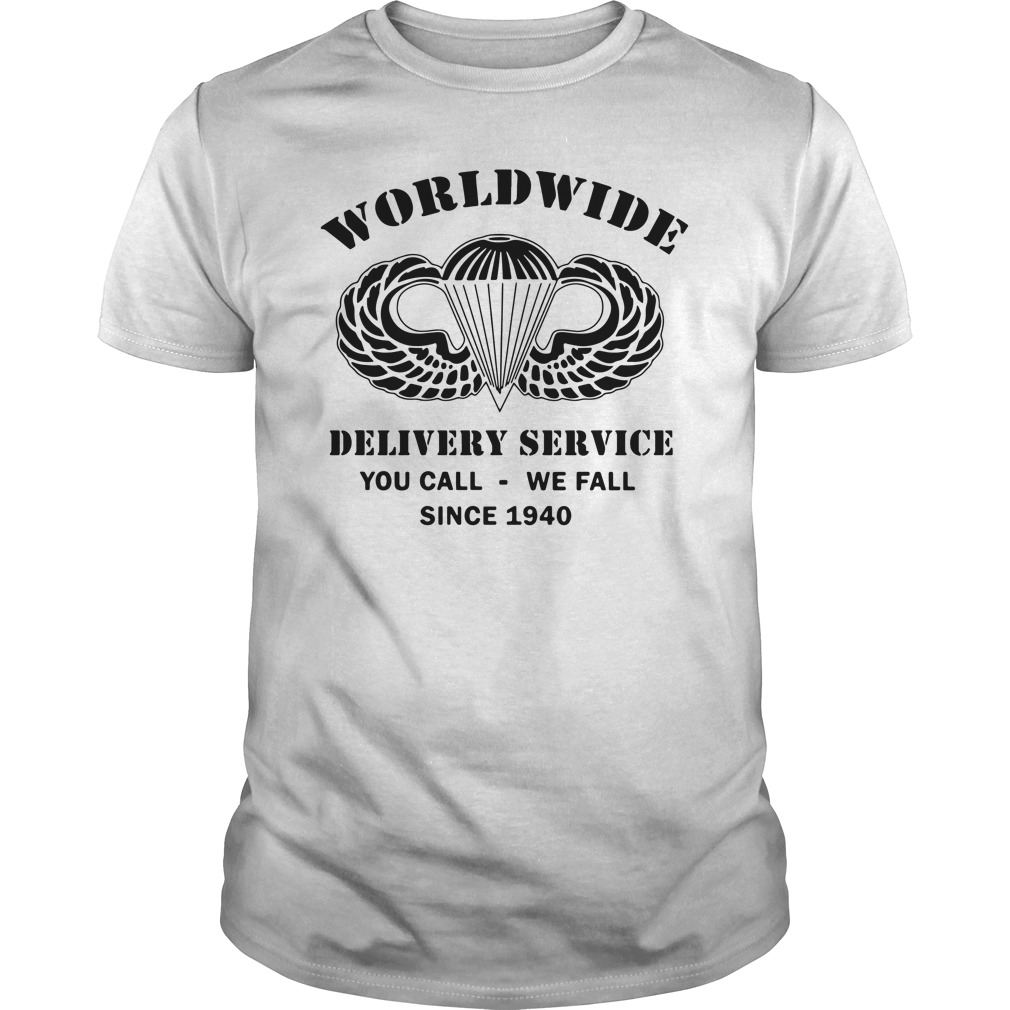 Airborne Wings Logo Worldwide Delivery Service You Call We Call Since 1940 Guys Shirt