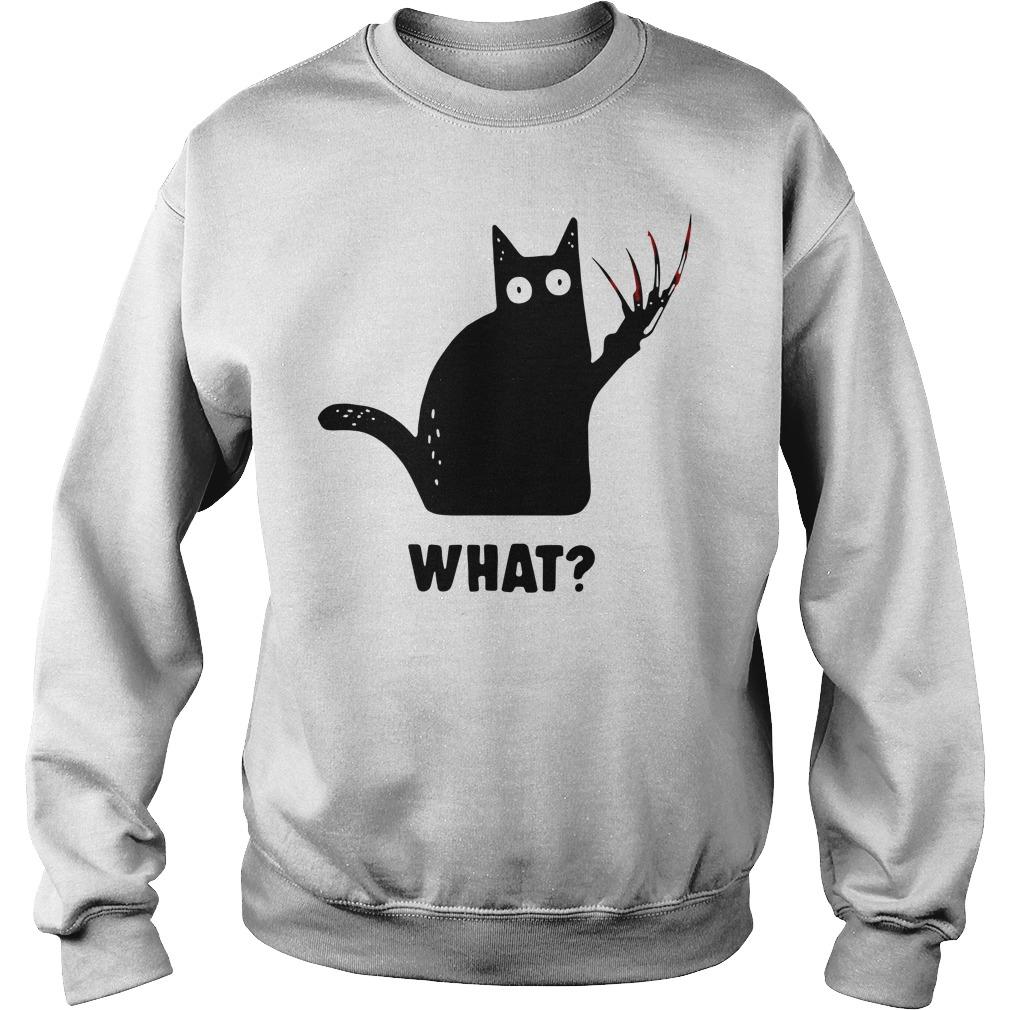 Black Cat Freddy Krueger What Sweatshirt